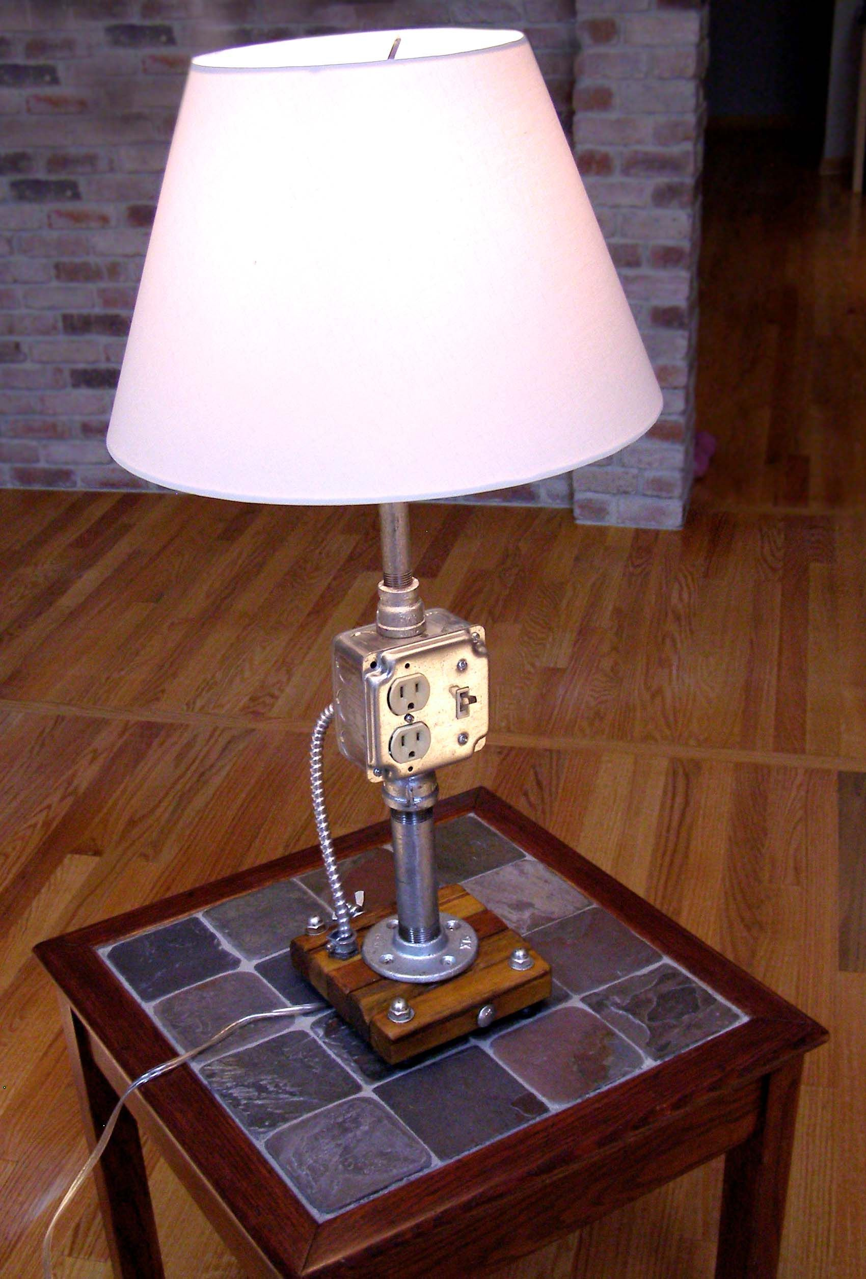 Build An Industrial Style Lamp Using Rough Electrical Parts And Table Wire Diagram Galvanized Pipe Assembly Wiring Available