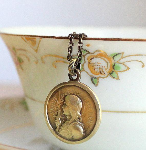 Dainty saint joan of arc pendant tiny vintage french medal necklace dainty saint joan of arc pendant tiny vintage french medal necklace by sirenssoul aloadofball Gallery