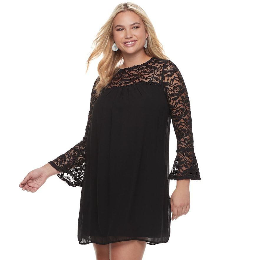 Juniors Plus Size Lily Rose Bell Sleeve Lace Shift Dress Teens