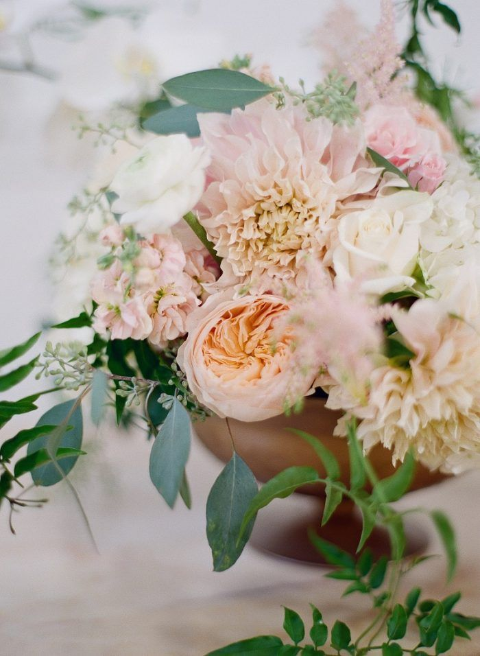 Cafe Au Lait Dahlia Pink Centerpiece Garden Wedding Inspiration