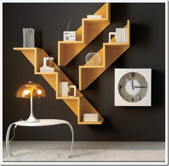 Made In Multiples And Displayed Sets These Staircase Bookshelves Serve As Wall Art Too