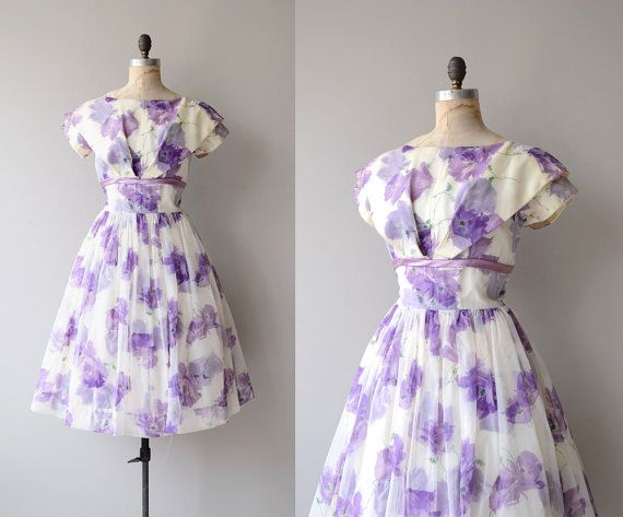 Lost in Wonder dress | vintage 1950s dress | floral 50s party dress ...