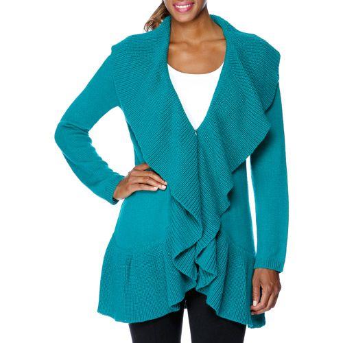 Miss Tina Womens Ruffle Sweater Cardigan Women Walmartcom