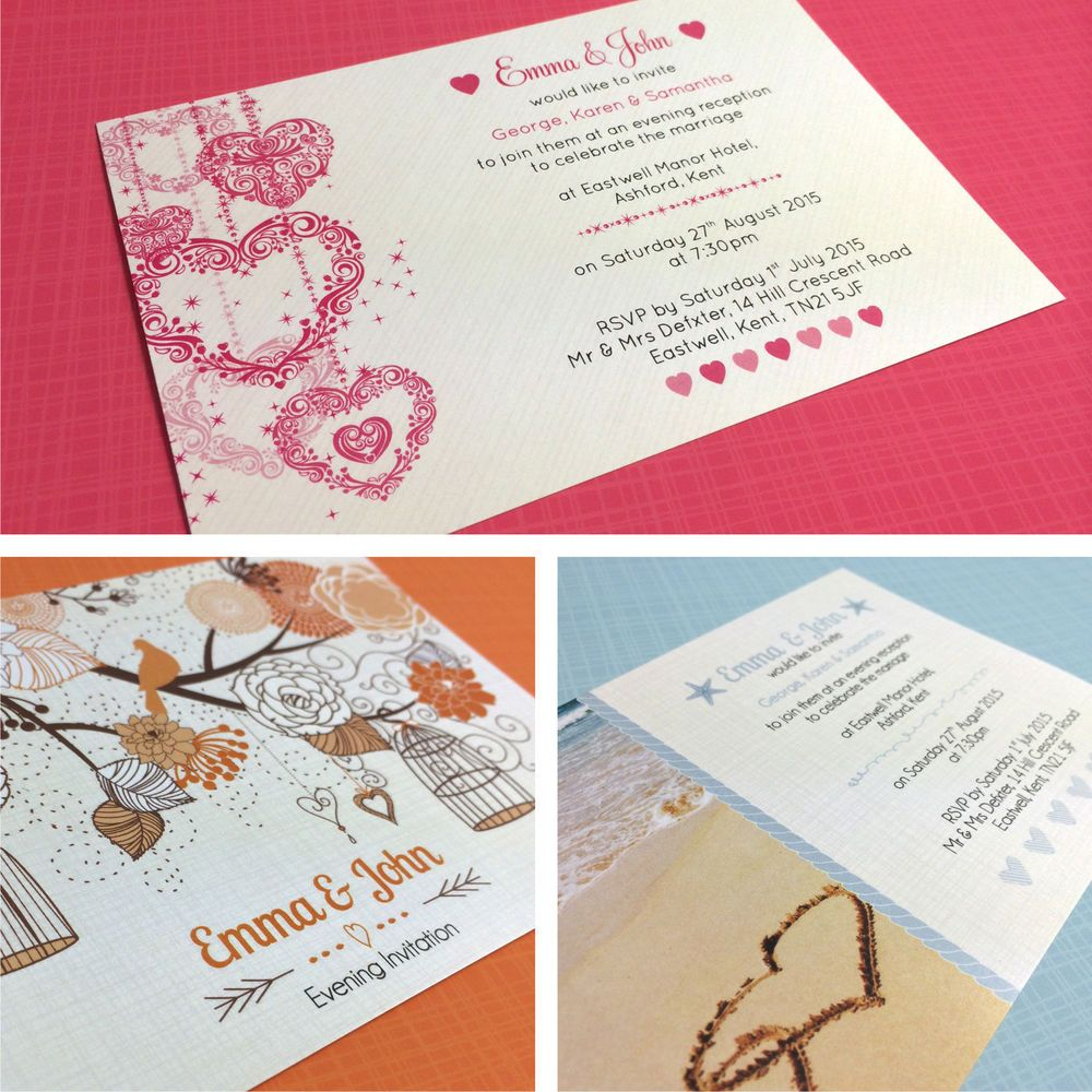 Details about Personalised Wedding Evening Invitations