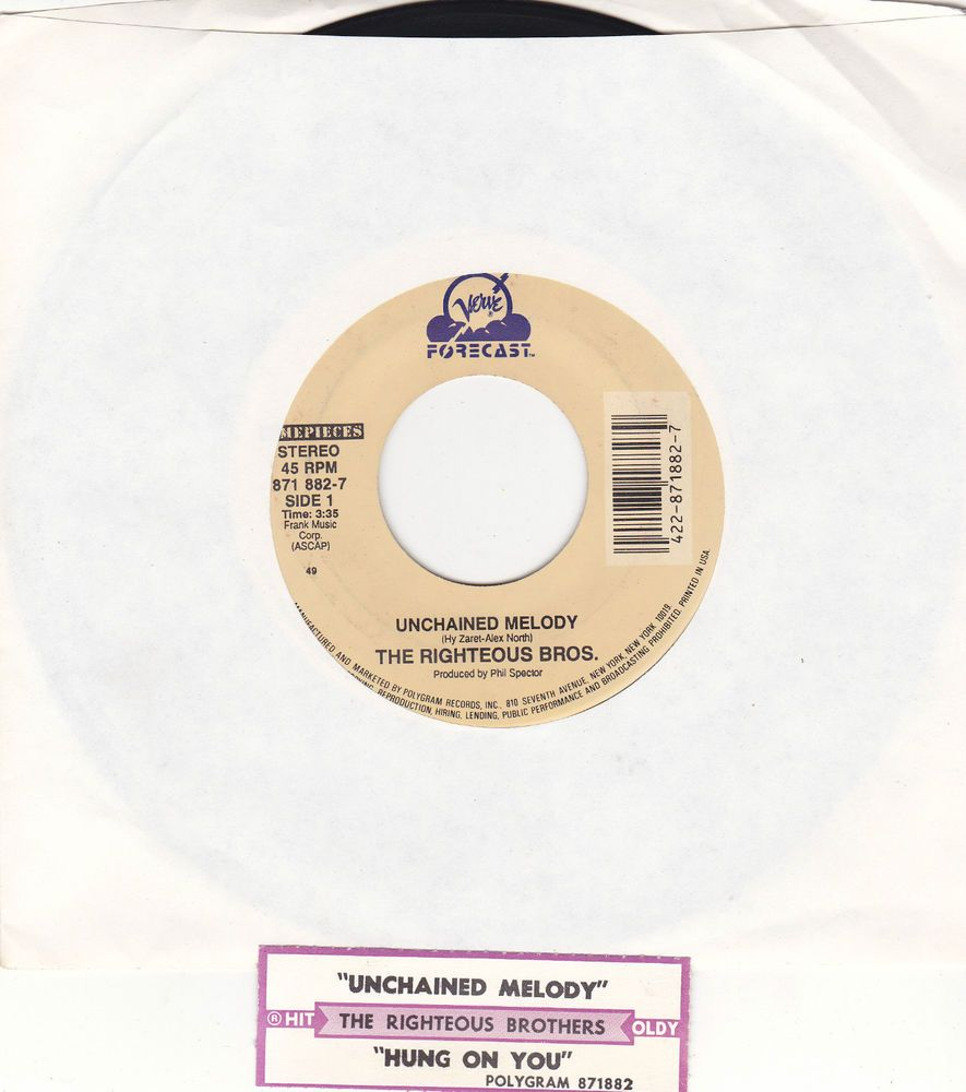 """Righteous Brothers / Unchained Melody / Hung On You / 7"""" Vinyl 45 RPM Record & Jukebox Strip #Pop #Music"""