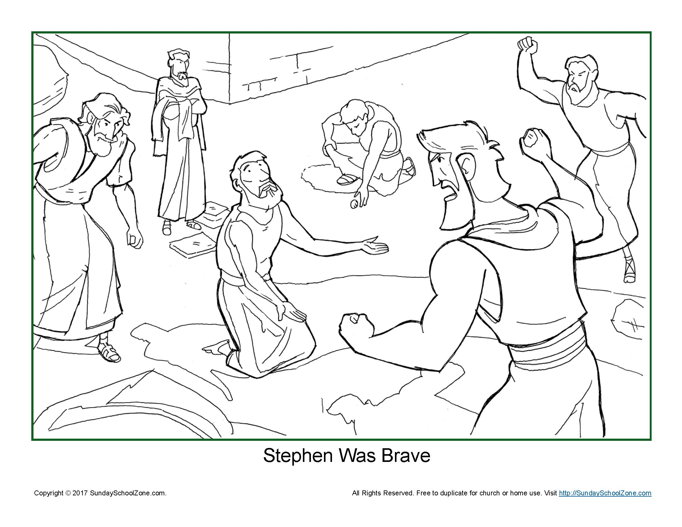 Stephen Was Brave Coloring Page On Sunday School Zone Sunday