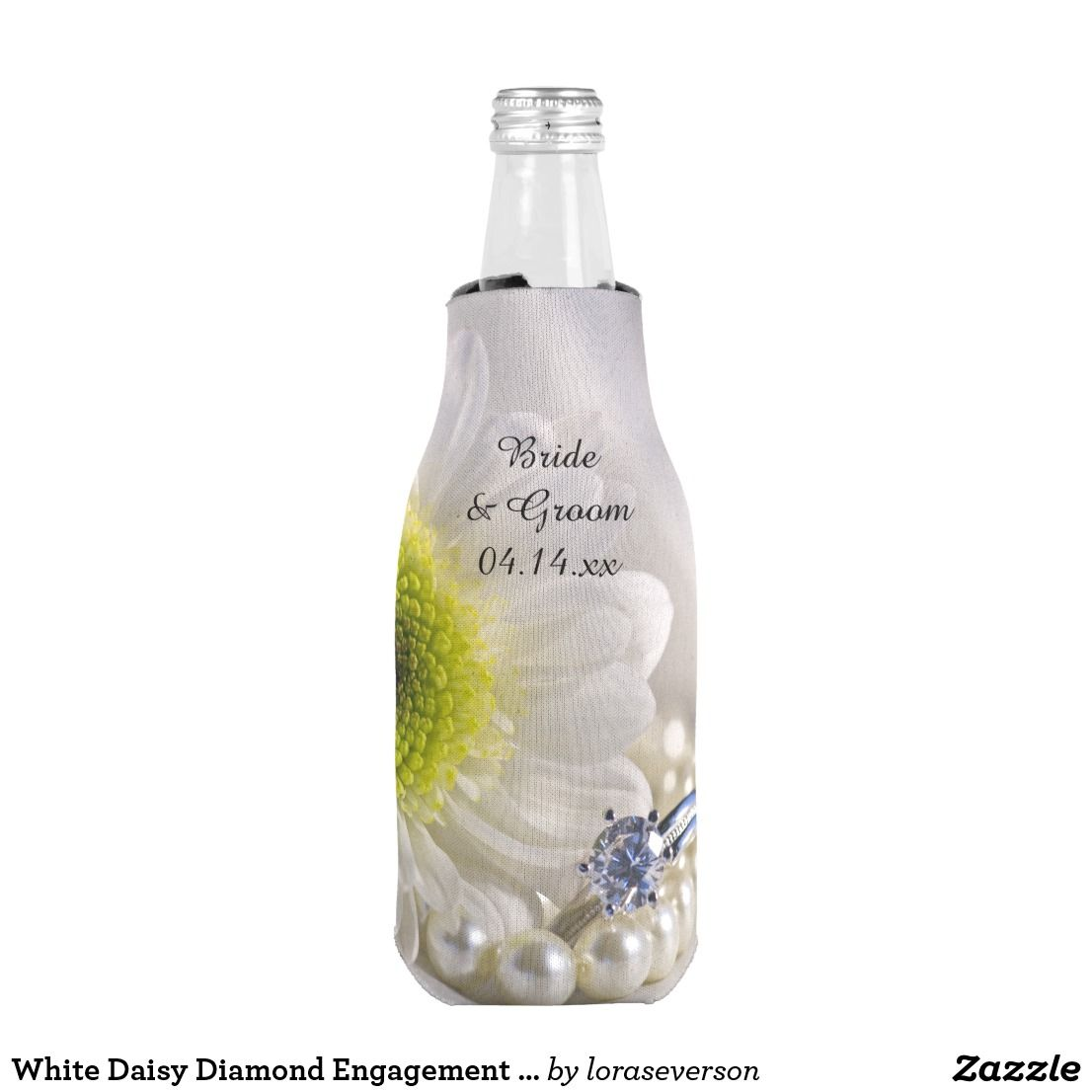 White Daisy Diamond Engagement Ring Wedding Favor Bottle