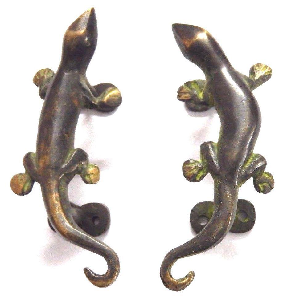 Unique Lizard Antique Vintage Style Handmade Brass Door Handle ...