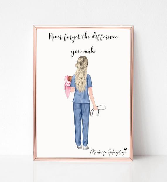 Midwife Print Scrubs Best Friend Print Nurse Print Personalised Nurse Gift