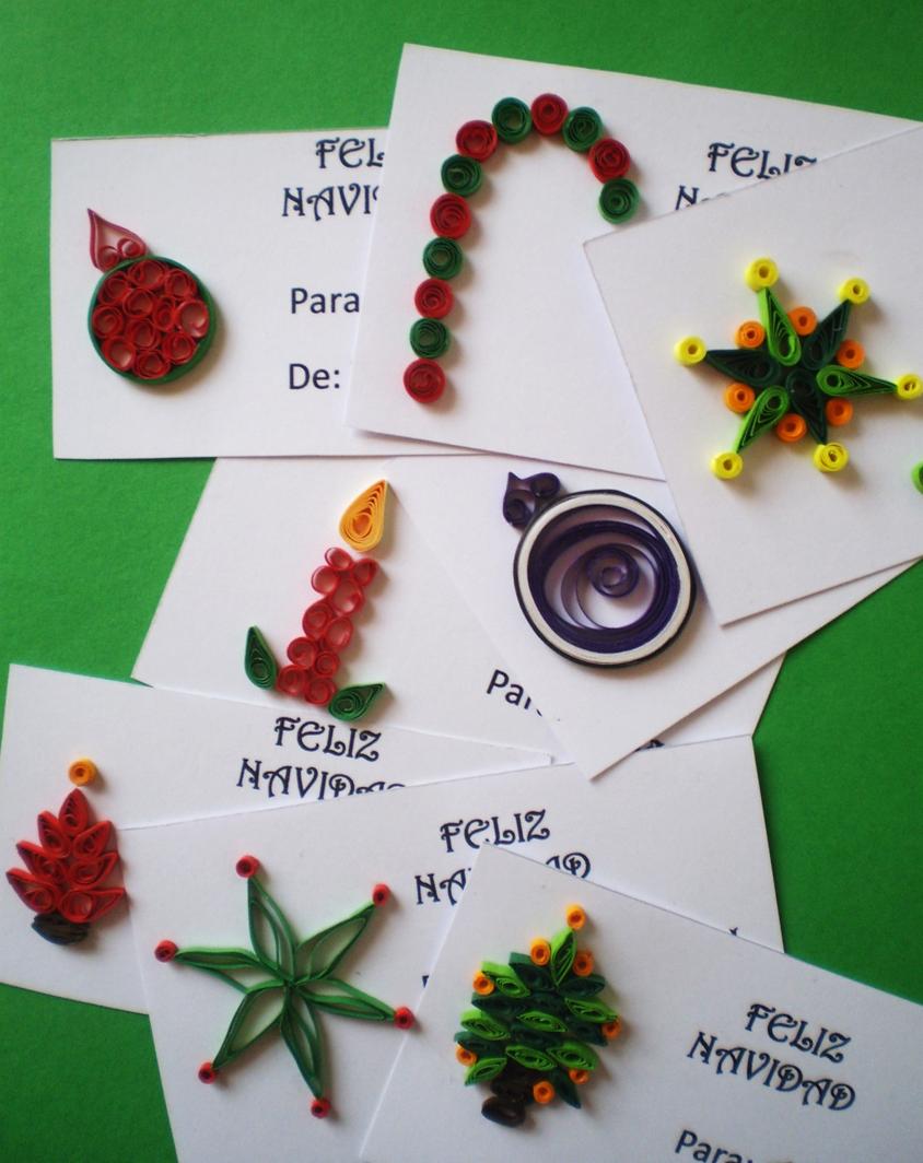 Tarjetas de navidad en filigrana de papel quilling cards - Manualidades navidad papel ...