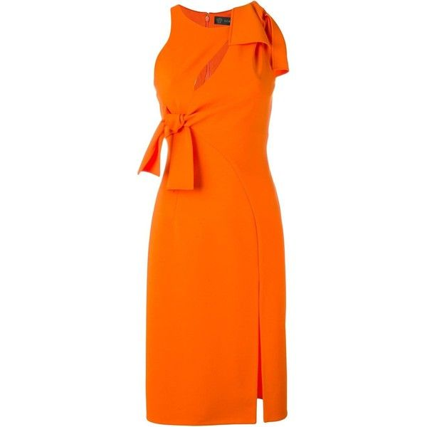 Cocktail dress with side cut outs in color tangerine by Posh Couture