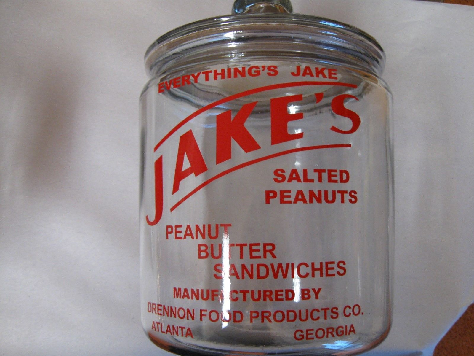 New Jake's Salted Peanuts Glass Jar with Lid   eBay