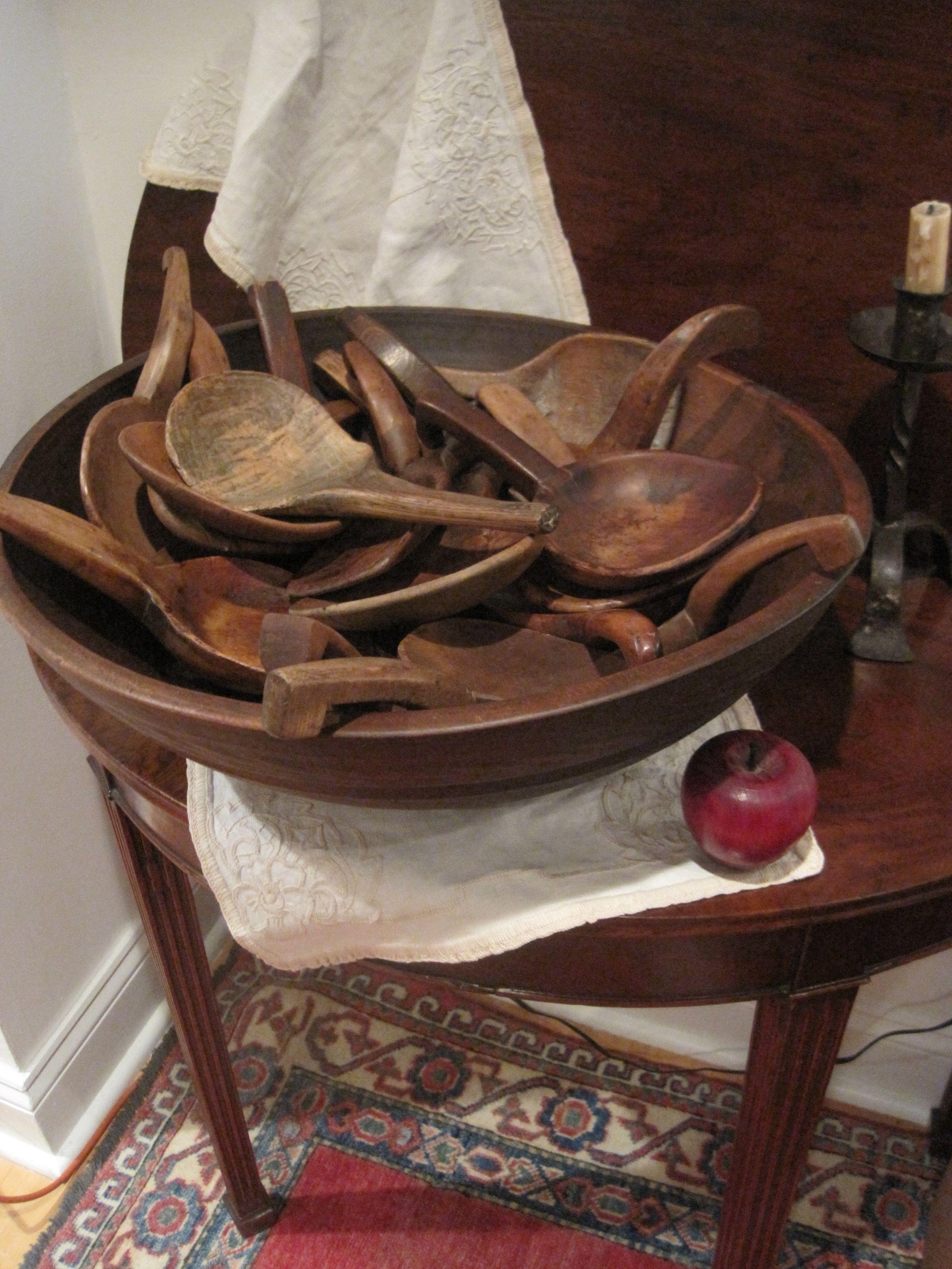 Antique Large Wooden Dough Bowls And Antique Butter Paddles