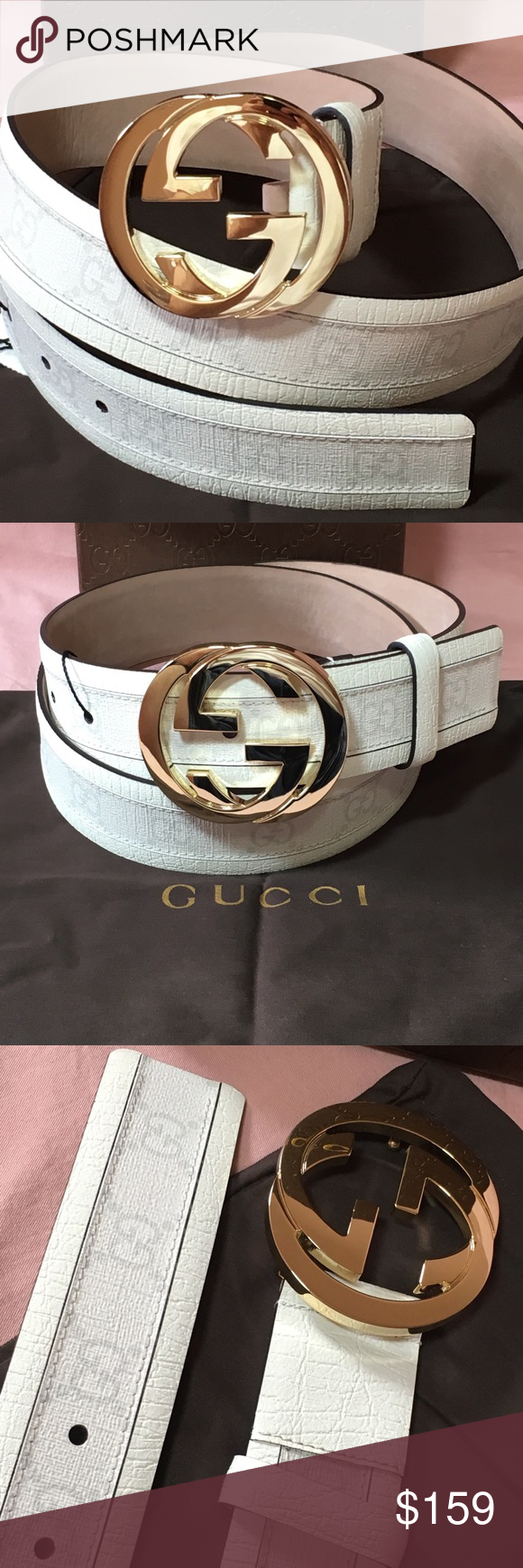 83fdf512ef01 White Leather Gucci belt New with tags, dust bag and box Gucci Accessories  Belts