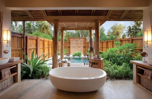 Bathroom With Big Bath And Private Plunge Pool  Poolsbackyards Alluring Luxury Outdoor Bathrooms 2018