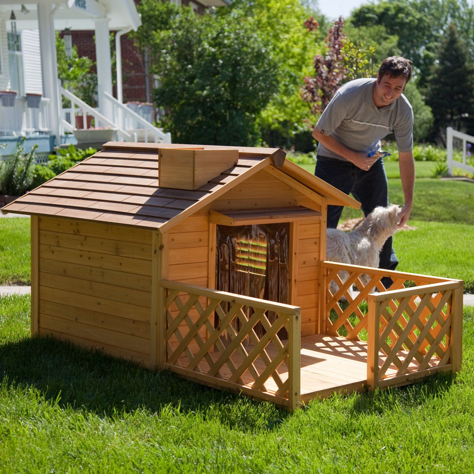 Great Wooden Custom Carpenter Made Cool Dog Houses Withrail Wooden