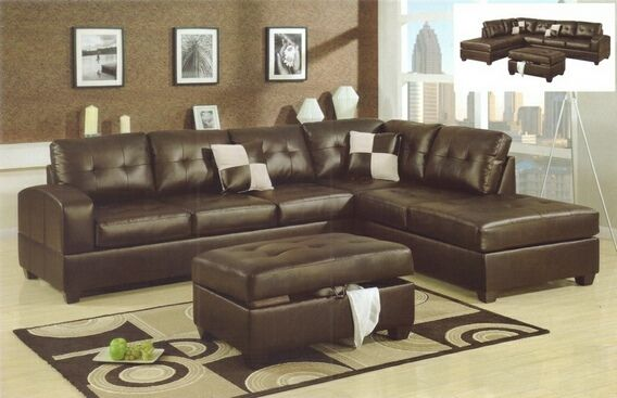 Best 2 Pc Reversible Espresso Bonded Leather Match Sectional 400 x 300