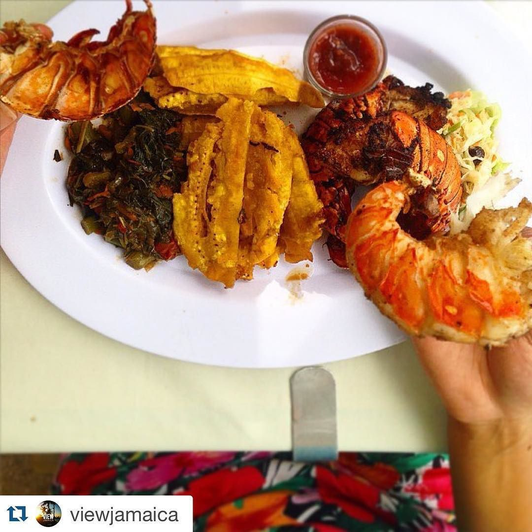 #Lobster callaloo fried crushed-plantains. #hungry yet?? Repost @viewjamaica