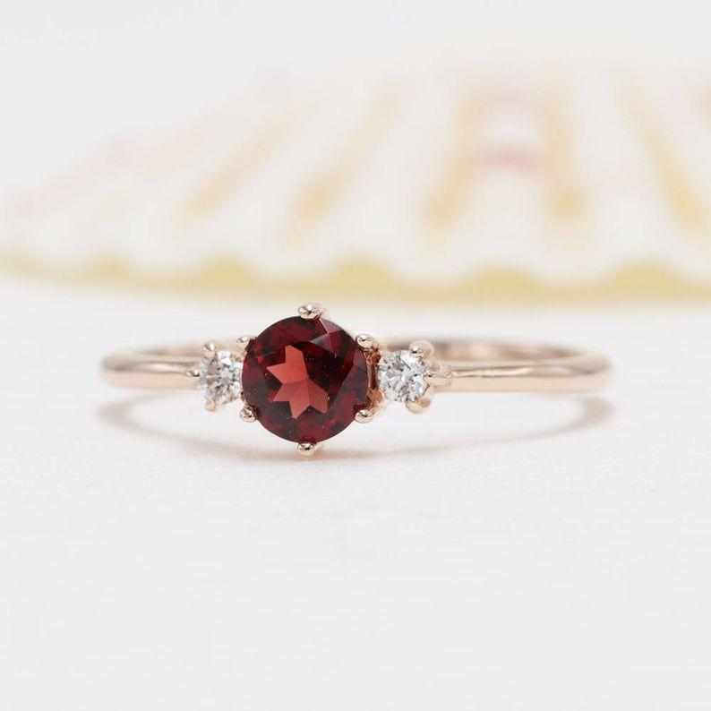 14k Gold Red Garnet Diamond Ring Red Garnet Diamond Engagement Etsy In 2021 Garnet And Diamond Ring Red Garnet Diamond Engagement Rings