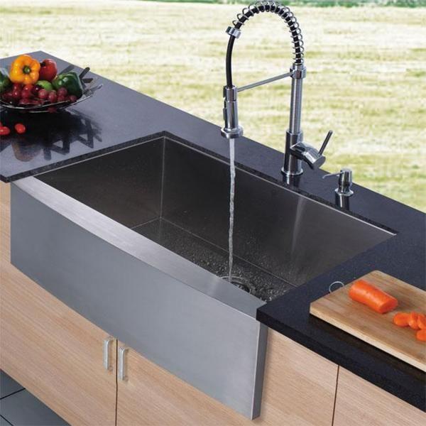 VIGO Farmhouse Stainless Steel Kitchen Sink, Chrome Faucet and ...