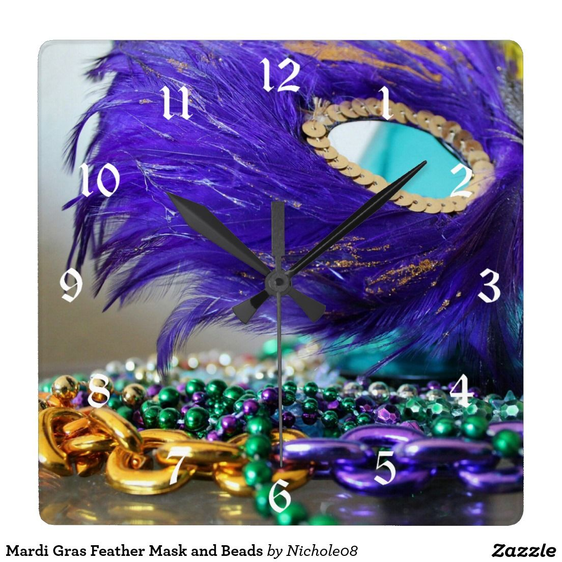 Mardi Gras Feather Mask And Beads Square Wall Clock Feather Mask
