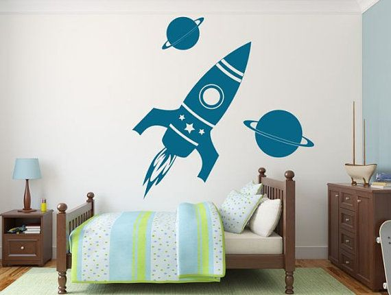 Wall sticker SPACE TRAVEL wall decal kids, kids room decal - wandtattoo braune wand