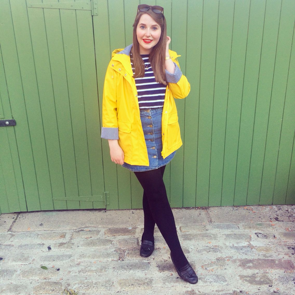 Nautical style Topshop yellow raincoat, stripes and button down asos denim skirt