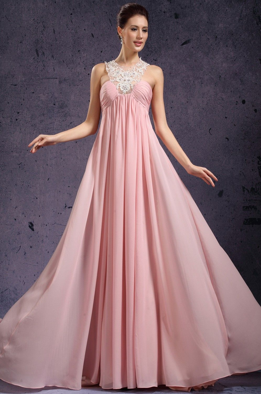 Vestido de encaje rosa largo de gasa | Vestidos de noche , cóctel ...