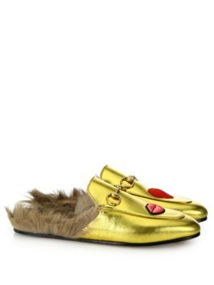 75d3719c7e3 GUCCI Princetown Fur-Lined Embroidered Metallic Leather Slippers.  gucci   shoes  flats