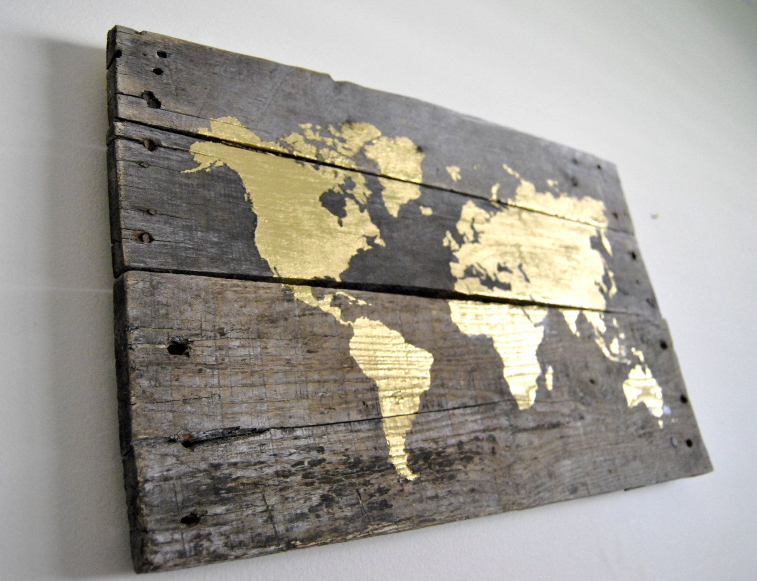 Gold World Map Pallet Wood Sign By Theheartsandcrafts On Etsy Wood Pallet Signs Gold World Map Wood Signs