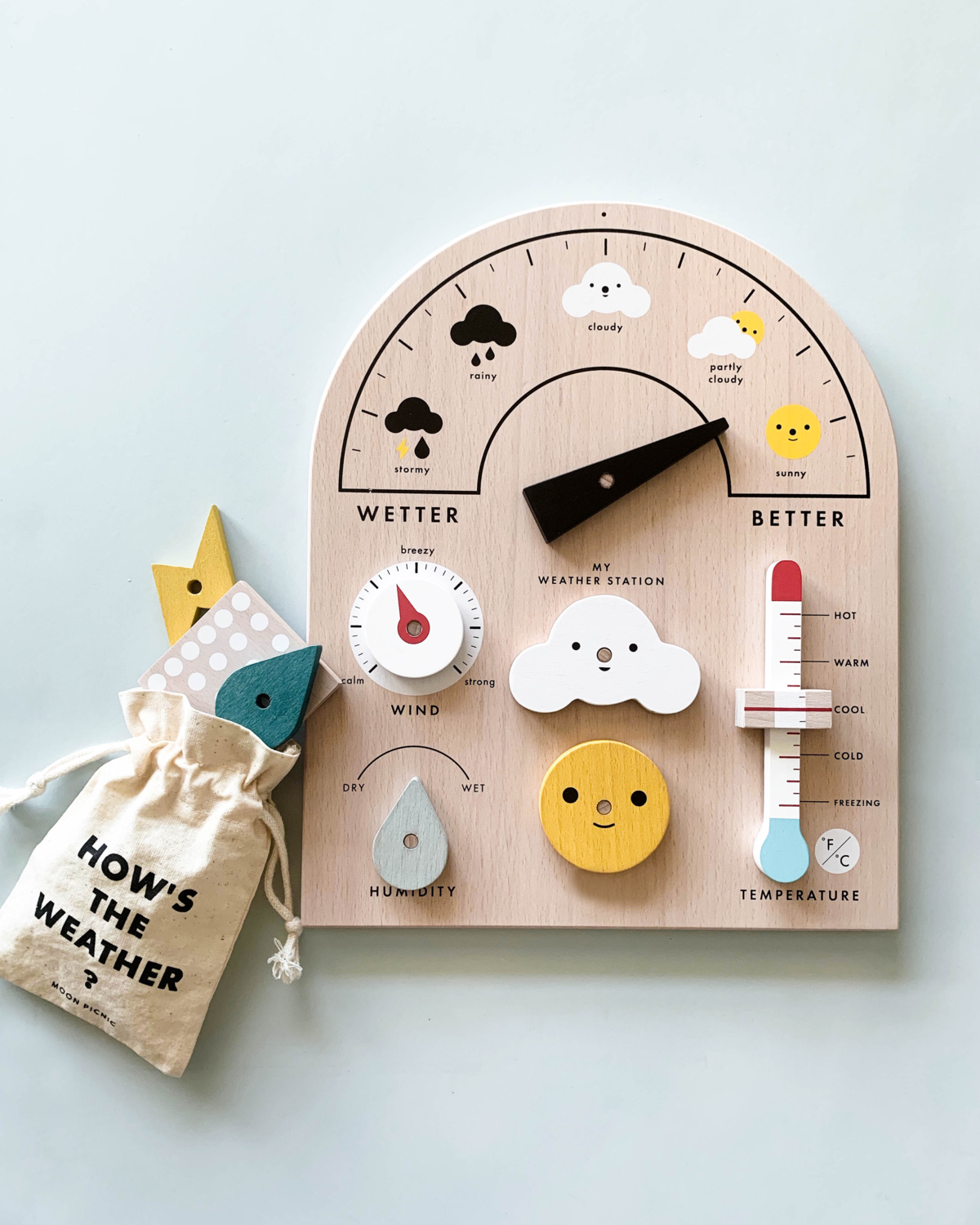 Let's learn about weather! Move the weather meter, turn the dials, slide the thermometer! This fun & educational interactive toy has 4 movable parts and 5 weather symbols to display so little meteorologists can report and forecast the weather. Dimensions: 11.6 x 9.4″ Includes: 1 base, 4 movable dials & slider,