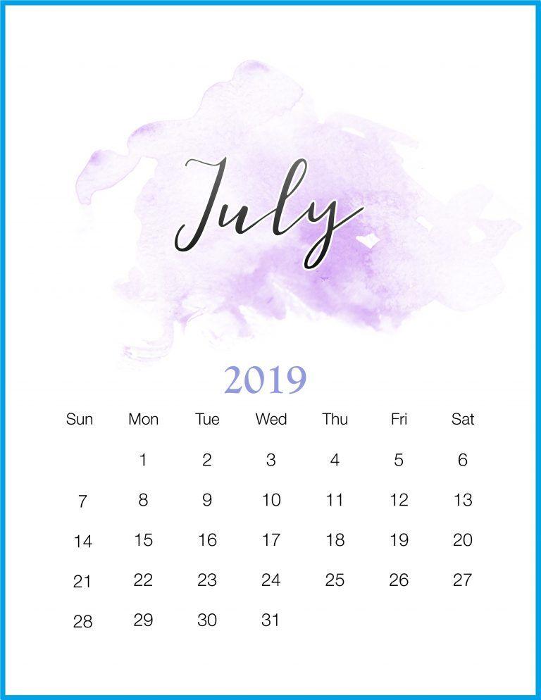 Watercolor 2019 July Printable Calendar Paper Calendar, Calendar