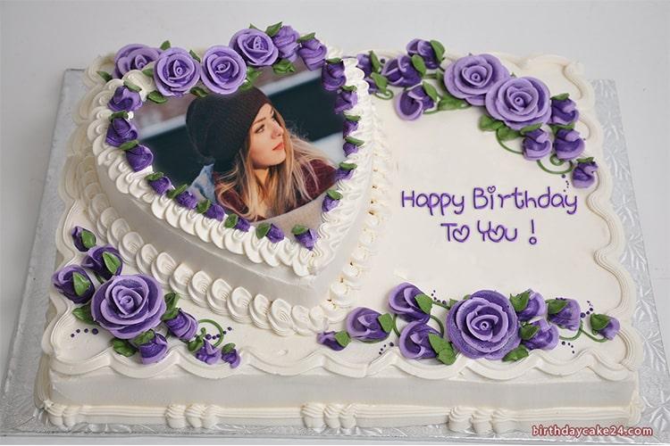 Heart Flower Birthday Cake With Photo And Name Birthday