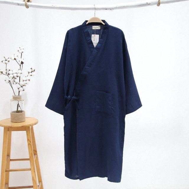 Pure black kimono robes men 100% gauze cotton simple nightwear Summer SPA  roupas kimono japanese 57624a7c0