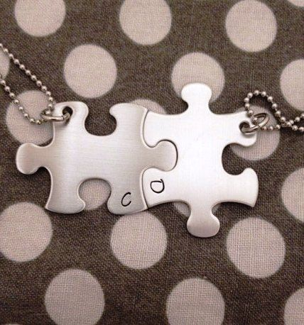 Puzzle Piece Necklaces INITIALS Only Hand Stamped by One27Designs