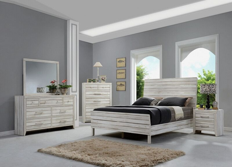 Acme 23970Q 5 pc Shayla antique white finish wood queen platform bed