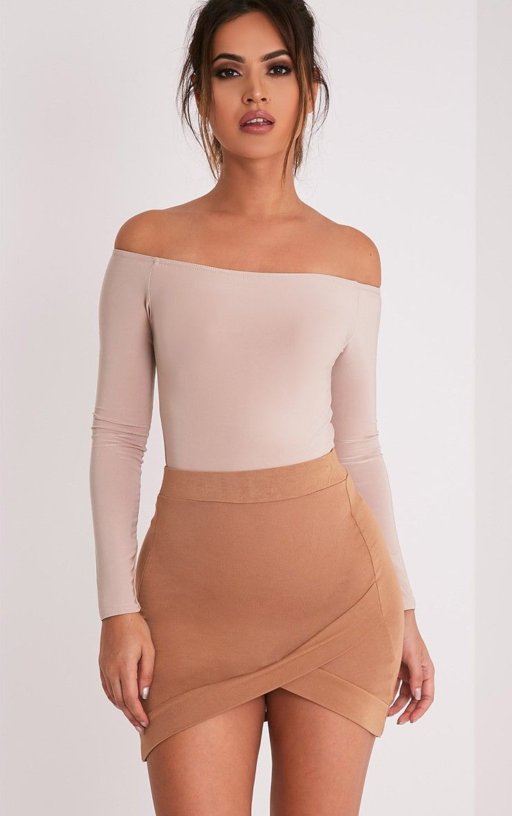 Basic Camel Asymmetric Mini SkirtFeaturing figure flattering shape and soft jersey fabric, this a...