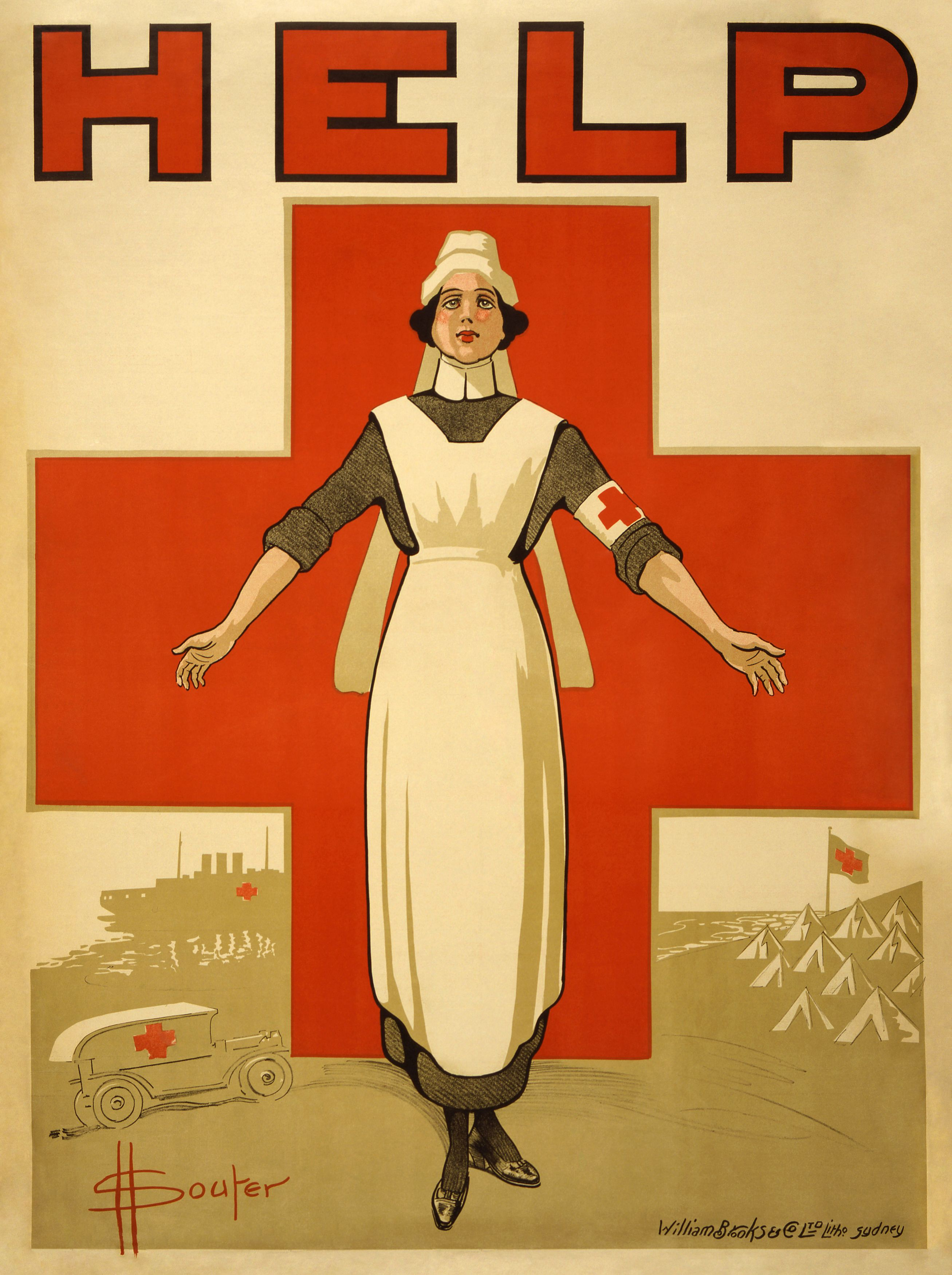 Red Cross recruiting poster for nurses at History of