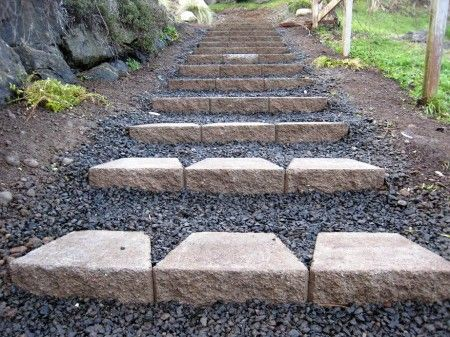 use cheap keystone retaining wall blocks that sell for a couple of bucks each – just turn the ledge down to hold back a step face