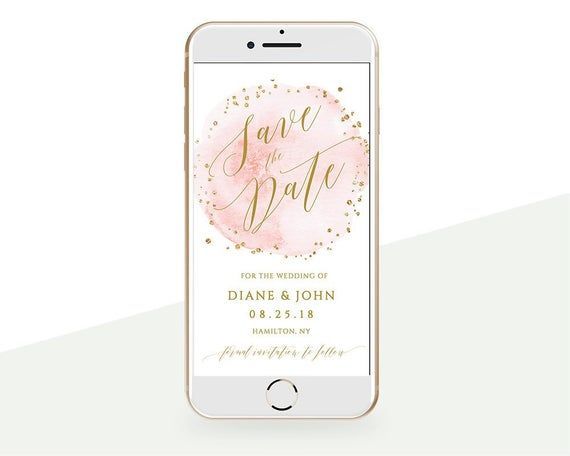 Electronic Save the Date Invitation with blush watercolor