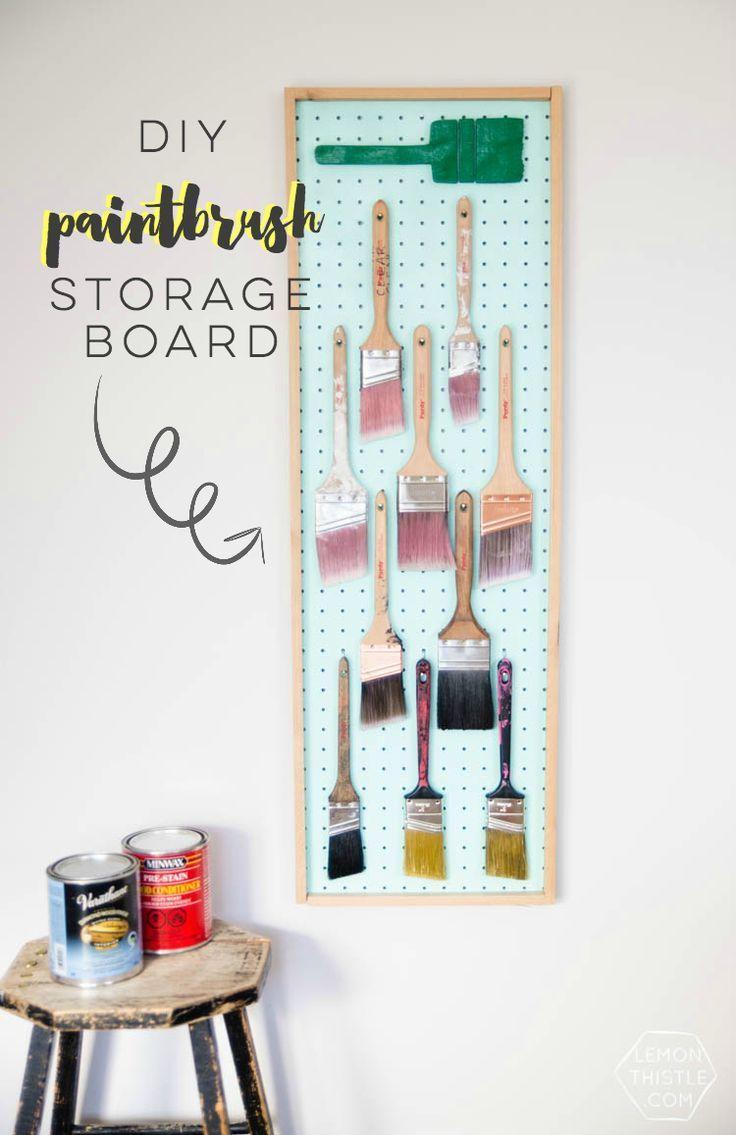 DIY Paintbrush storage board using pegboard- I love this idea! Plus ...