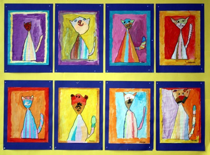 Kinderbilder fürs kinderzimmer katze  bunte Katzen im Kunstunterricht | Tiere | Pinterest ...