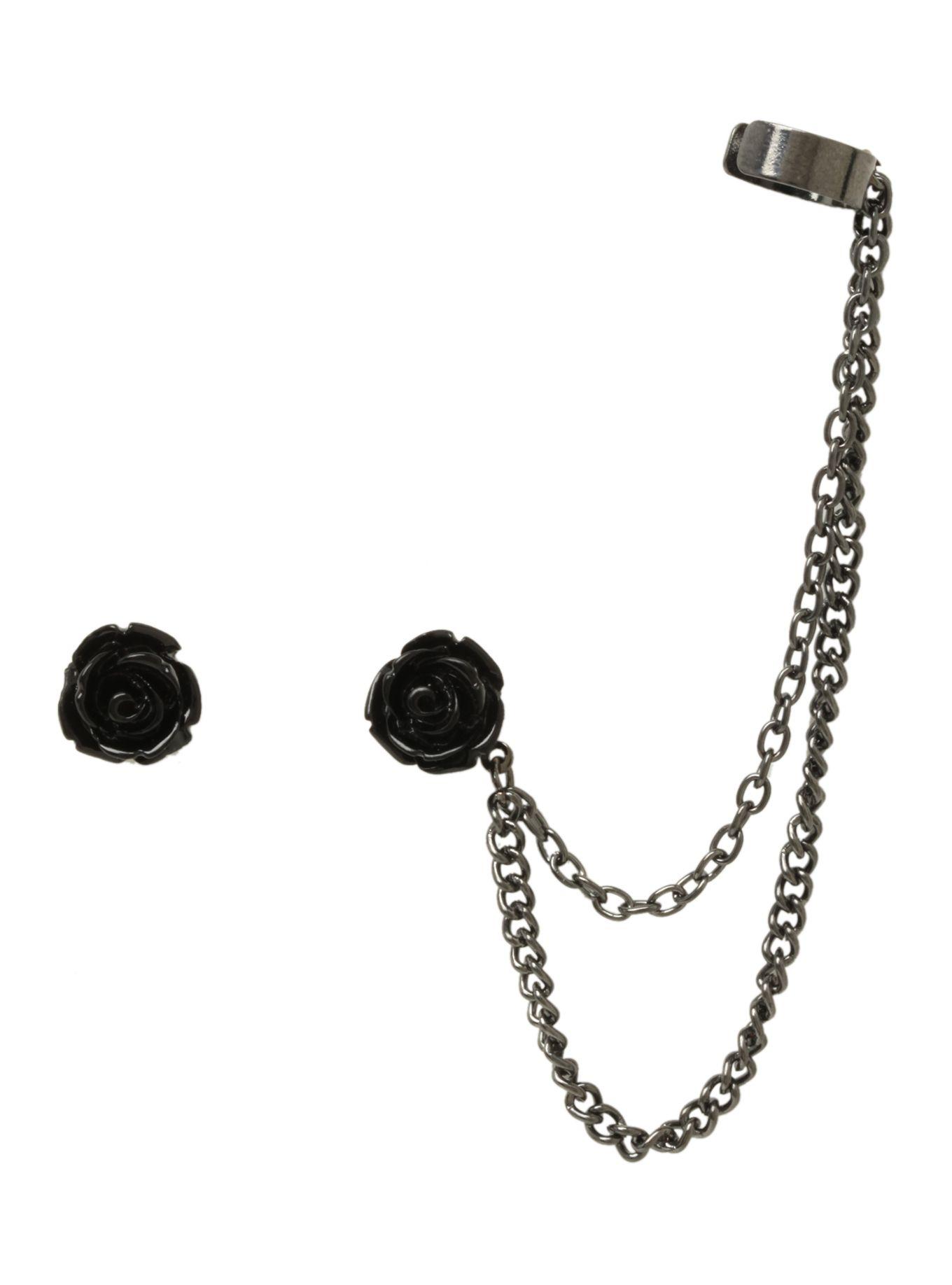 Black Rose Cuff Earrings Hot Topic