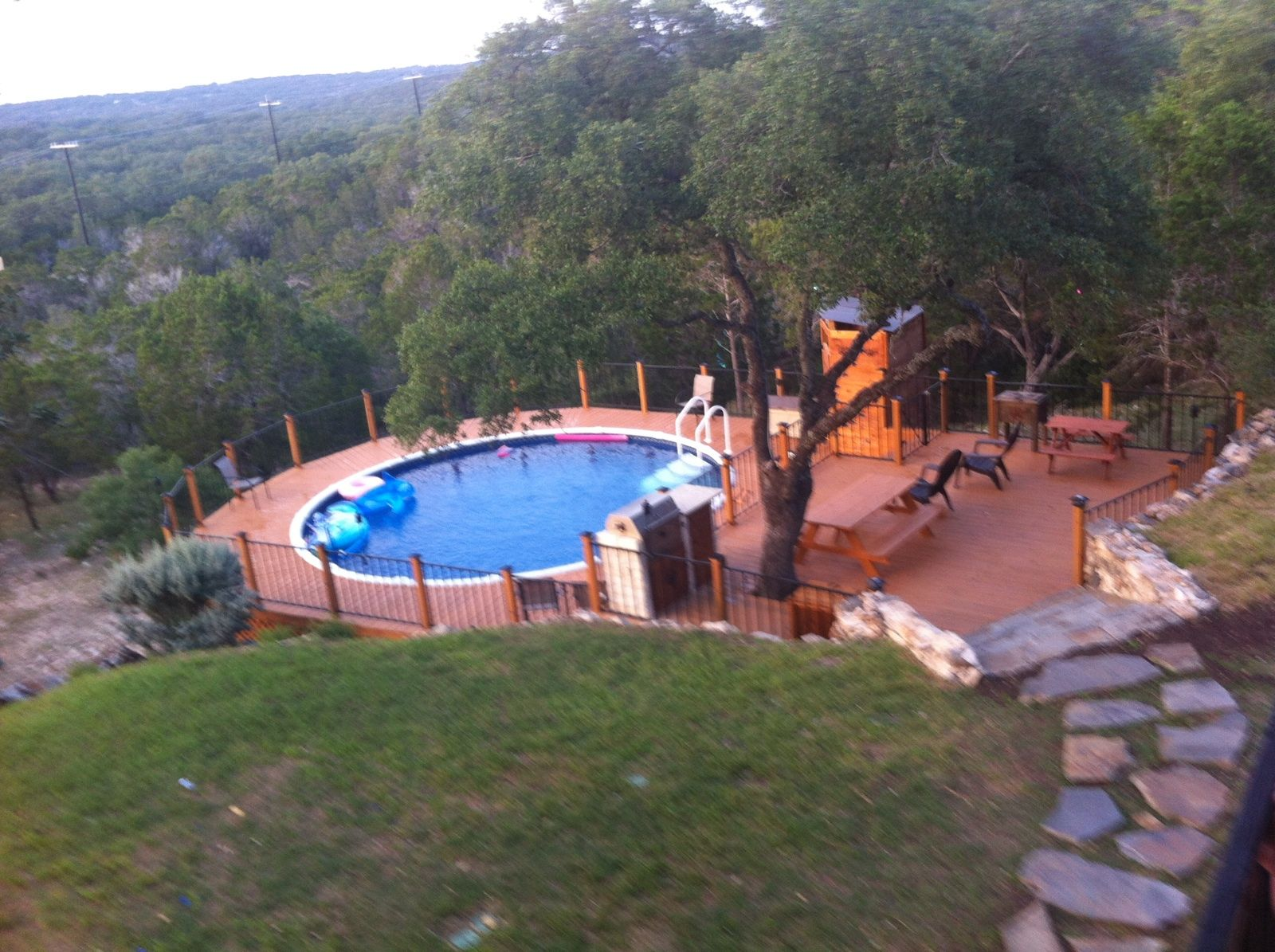 Above Ground Pool Deck In The Texas Hill Country Two Level With Outdoor Kitchen