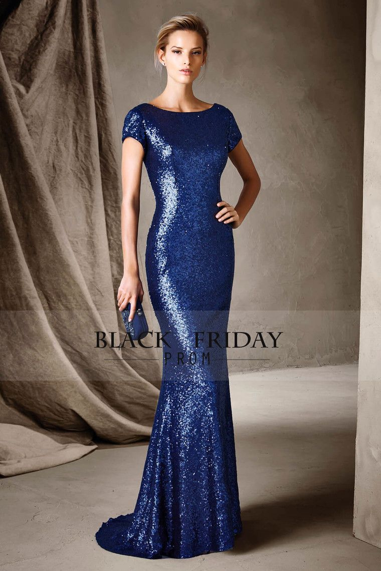 sexy open back prom dresses scoop short sleeves mermaid sequins