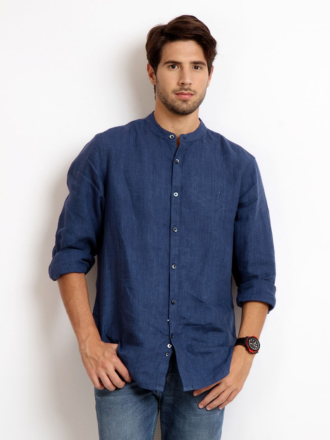 Buy Indian Terrain Men Blue Slim Fit Linen Casual Shirt 320