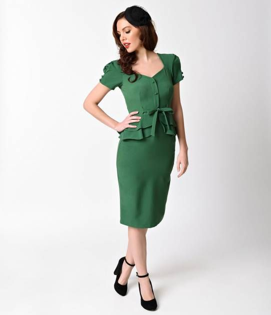Stop Staring! 1940s Style Green Short Sleeve Rosemary Pencil Dress