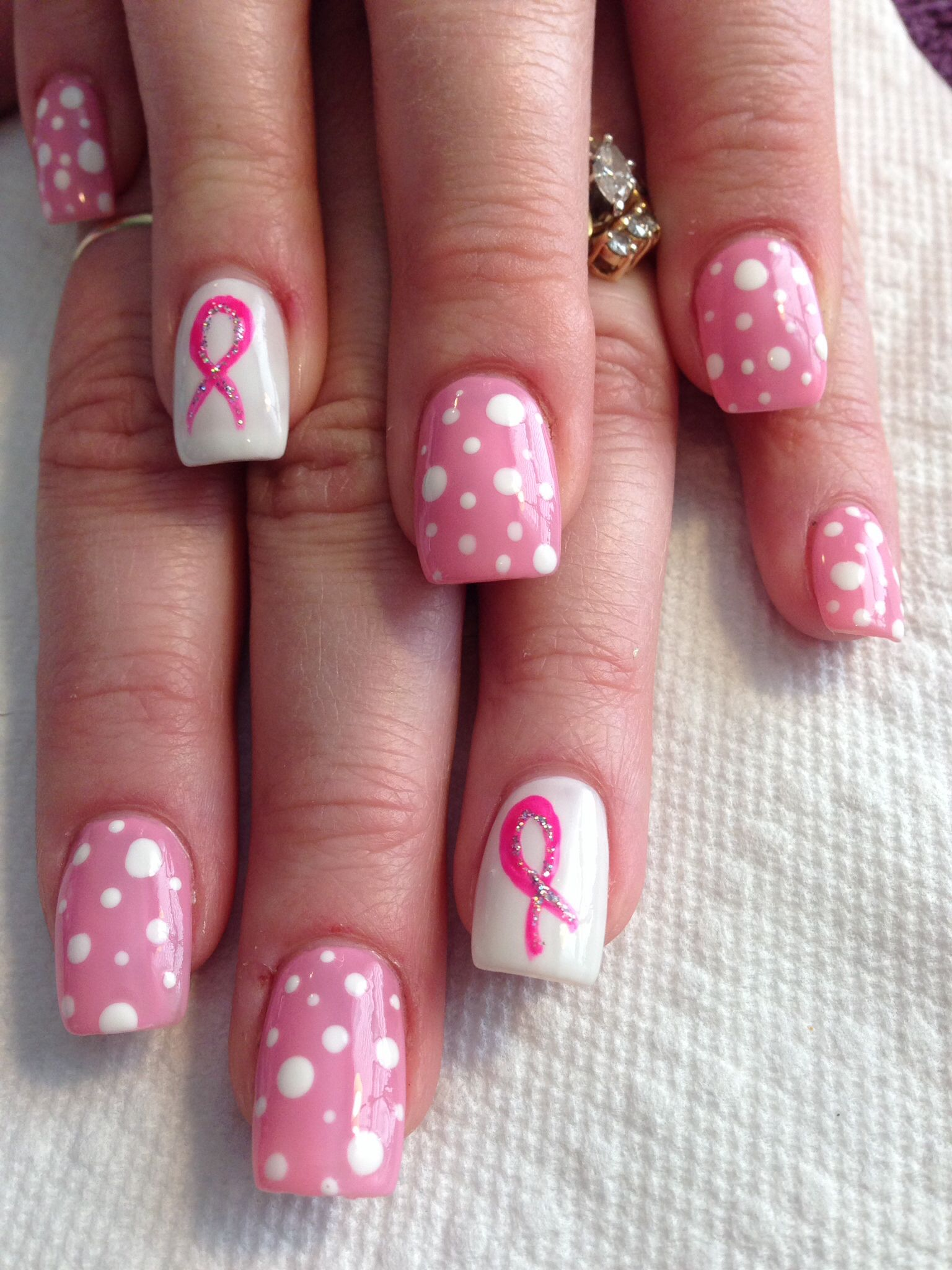 T Cancer Awareness Nails Over Acrylics Acrylic How To Do