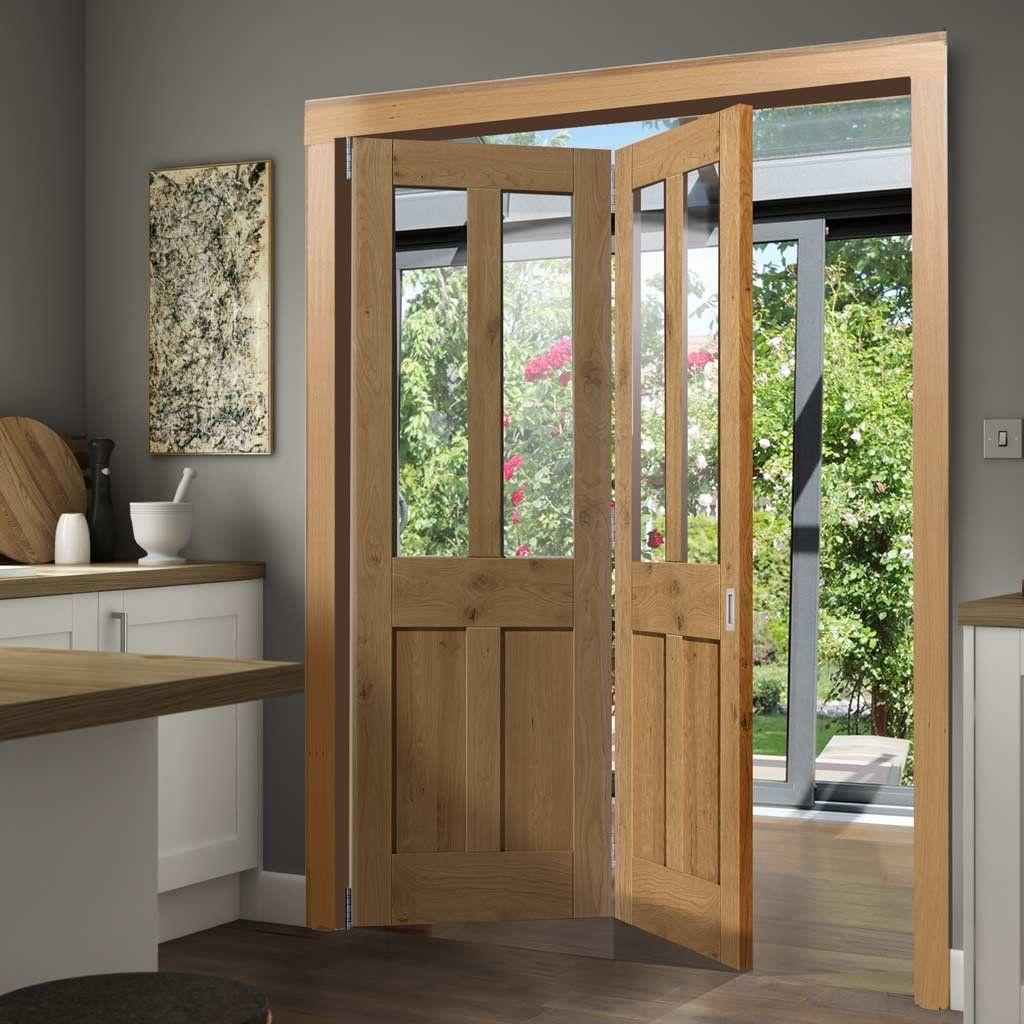 Thrufold Rustic Oak Shaker 2 Panel 2 Pane 20 Folding Door