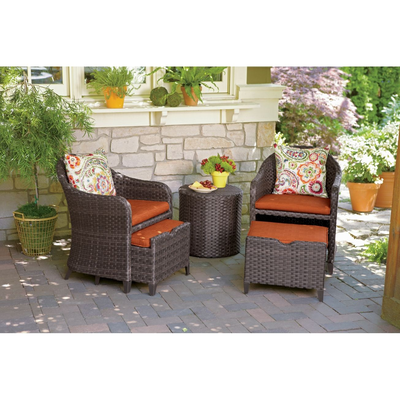 Seabrook  Pc Wicker Chat Set WPullOut Ottomans All Patio - Ace hardware outdoor furniture